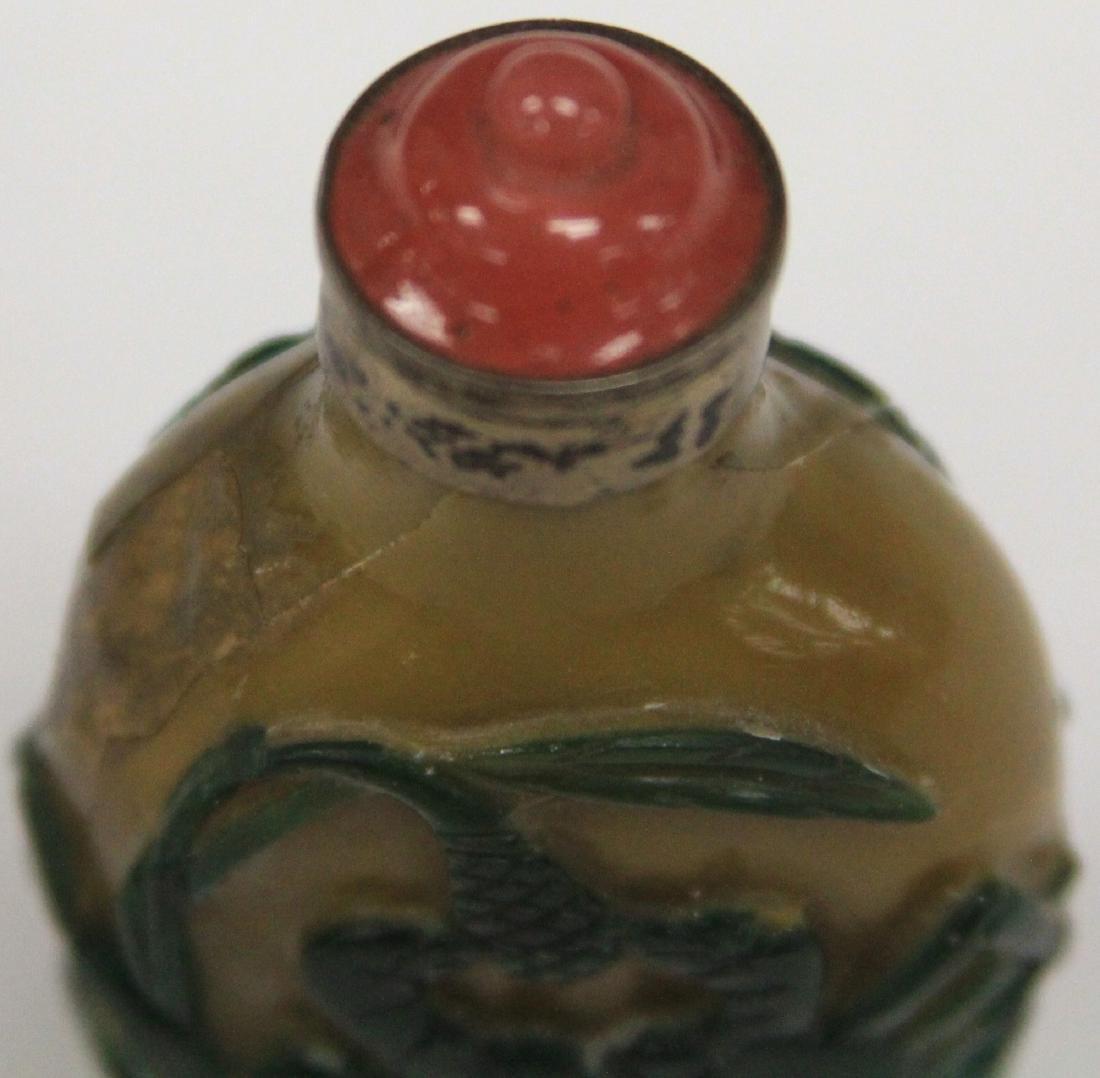 CHINESE PEKING GLASS SNUFF BOTTLE - 4