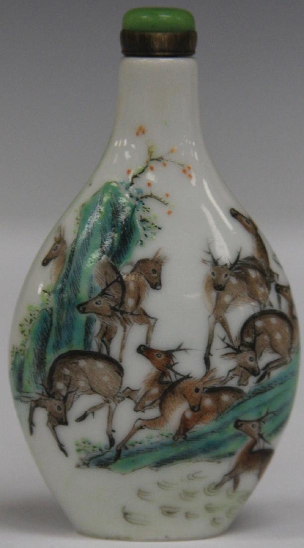 CHINESE PAINTED PORCELAIN SNUFF BOTTLE - 2
