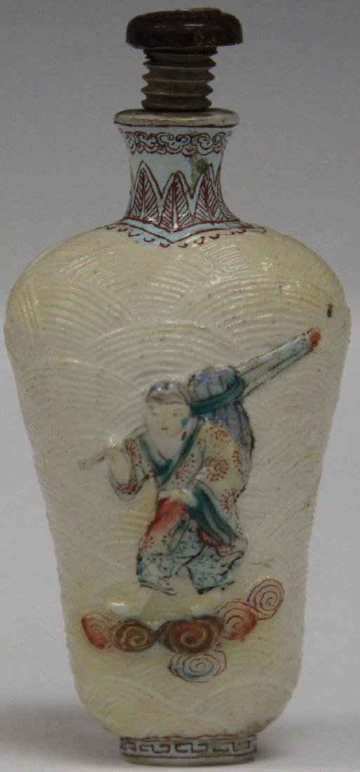 CHINESE SCULPTED PORCELAIN SNUFF BOTTLE