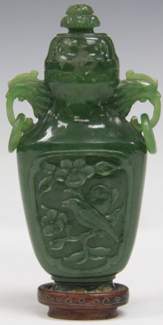 CHINESE CARVED JADE URN W/ WOOD STAND