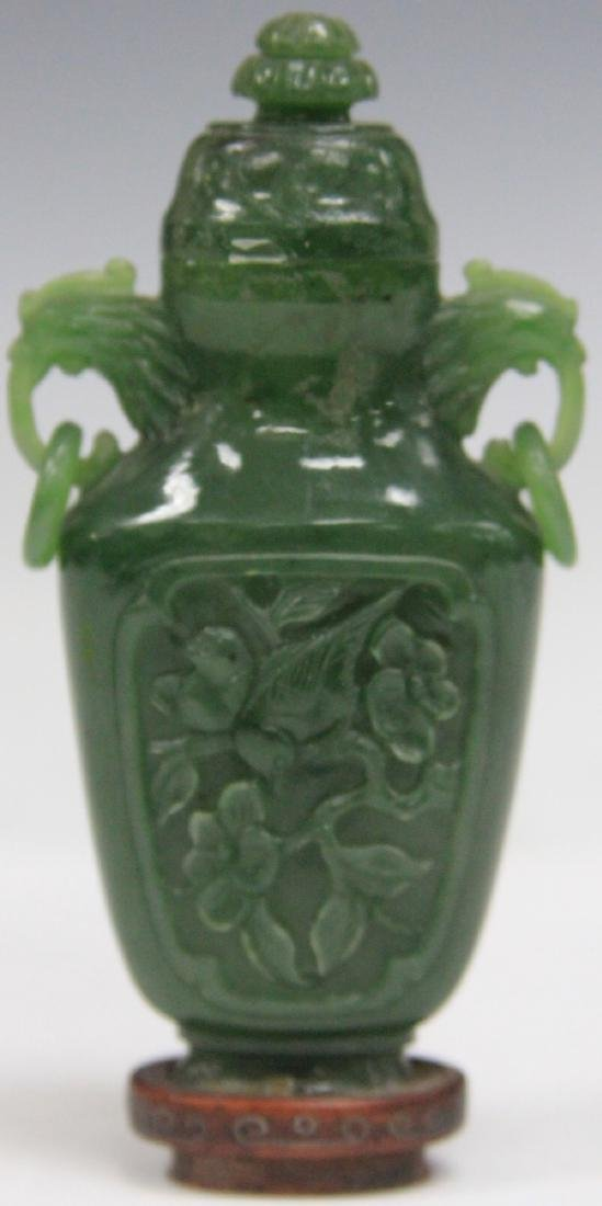CHINESE CARVED JADE URN W/ WOOD STAND - 2