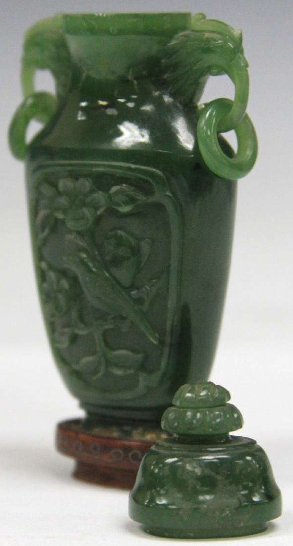 CHINESE CARVED JADE URN W/ WOOD STAND - 3