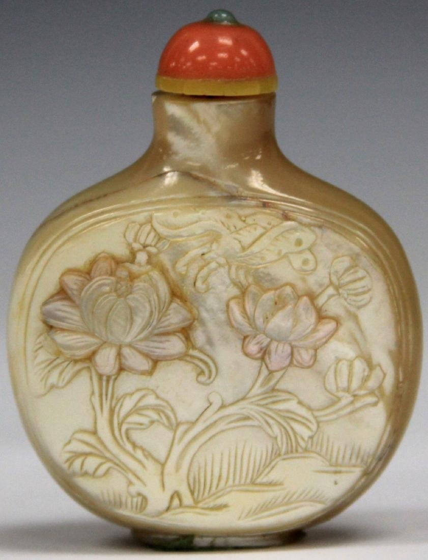 "CHINESE CARVED MOTHER OF PEARL SNUFF BOTTLE, 3"" H"