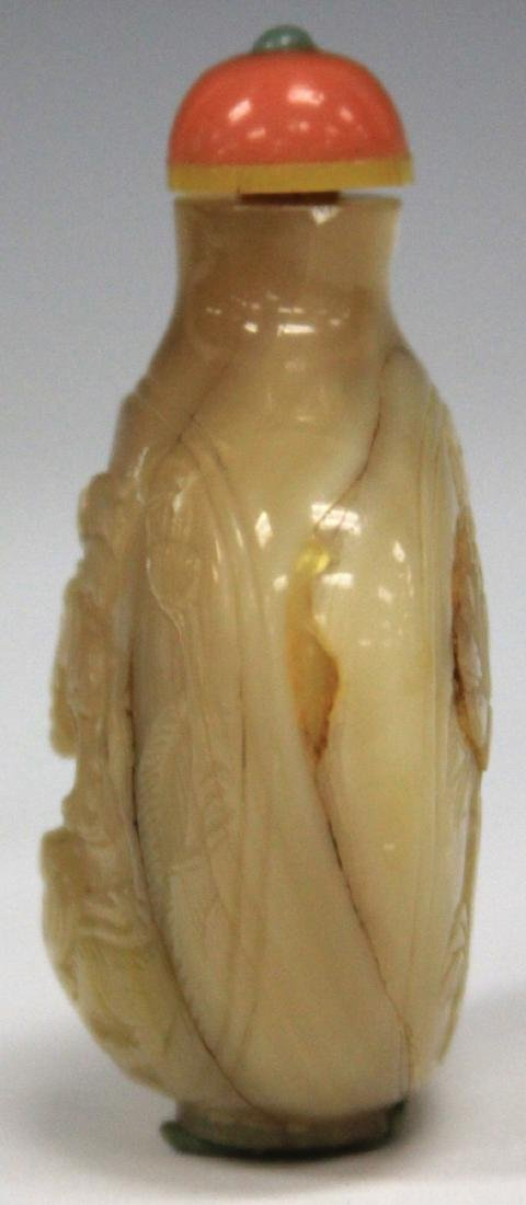 "CHINESE CARVED MOTHER OF PEARL SNUFF BOTTLE, 3"" H - 3"