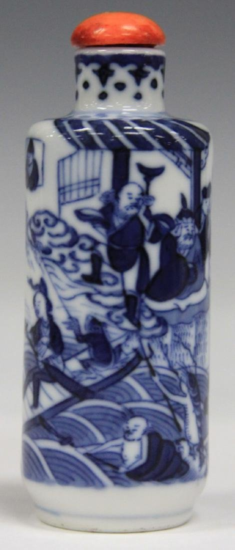 CHINESE BLUE AND WHITE PORCEALIN SNUFF BOTTLE
