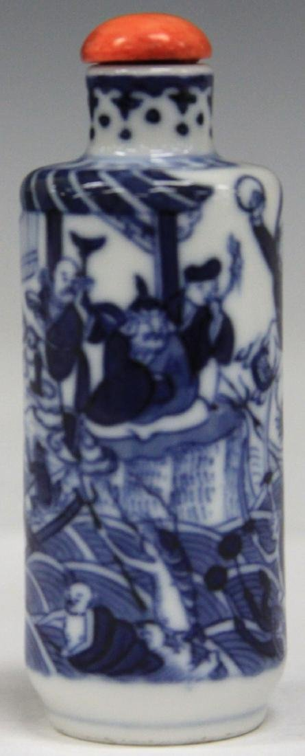 CHINESE BLUE AND WHITE PORCEALIN SNUFF BOTTLE - 5