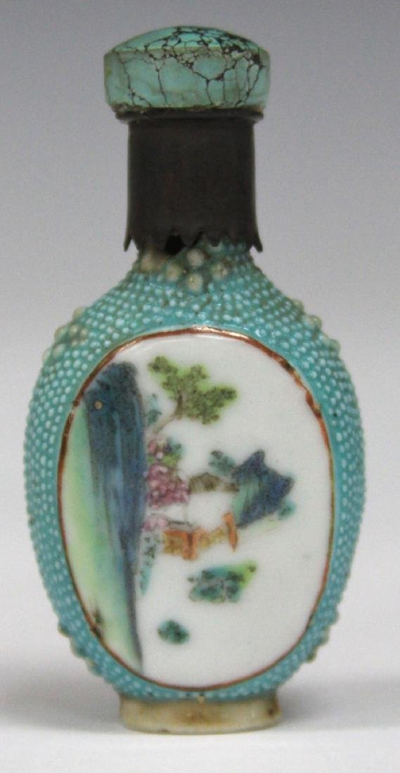 """CHINESE PAINTED PORCELAIN SNUFF BOTTLE, 2 1/2"""" H"""