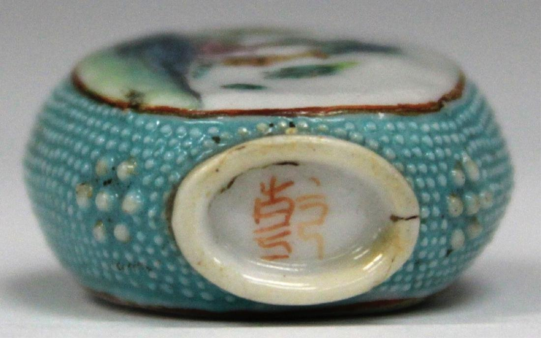 """CHINESE PAINTED PORCELAIN SNUFF BOTTLE, 2 1/2"""" H - 4"""