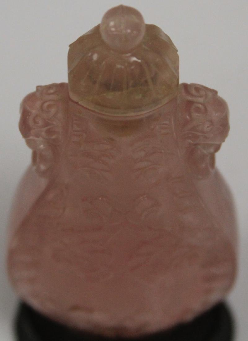 19TH C. CHINESE ROSE QUARTZ CARVED BOTTLE ON STAND - 3