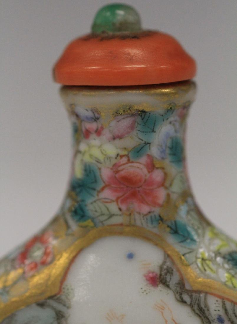 QING DYNASTY PAINTED PORCELAIN SNUFF BOTTLE - 7