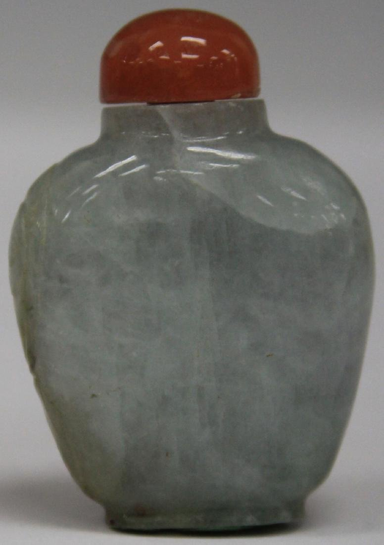 "CHINESE CARVED JADE SNUFF BOTTLE, 2 1/4"" H - 2"