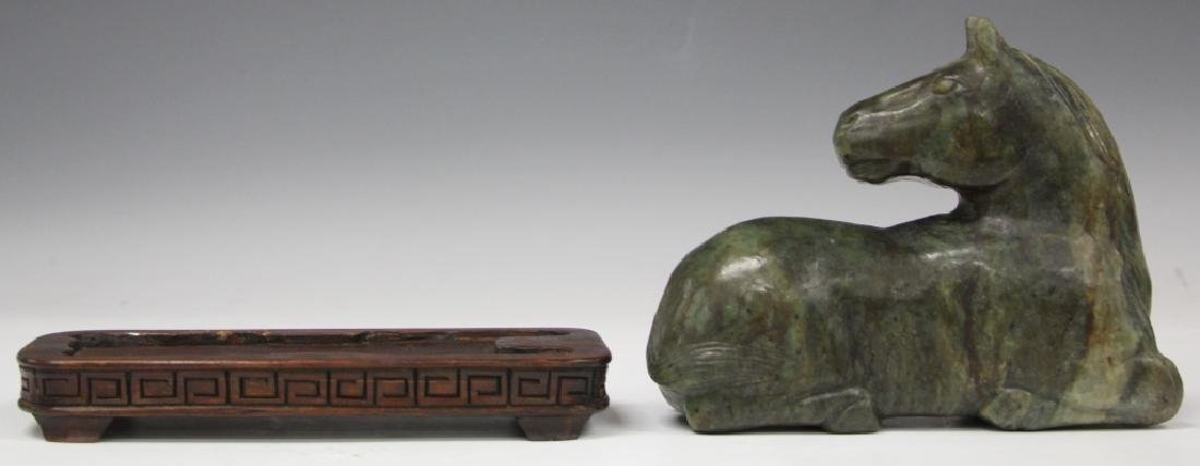 CHINESE CARVED JADE HORSE WITH STAND - 4