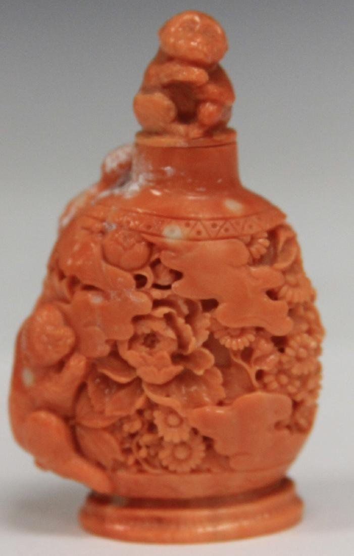 "CHINESE CARVED SNUFF BOTTLE, 3"" H"