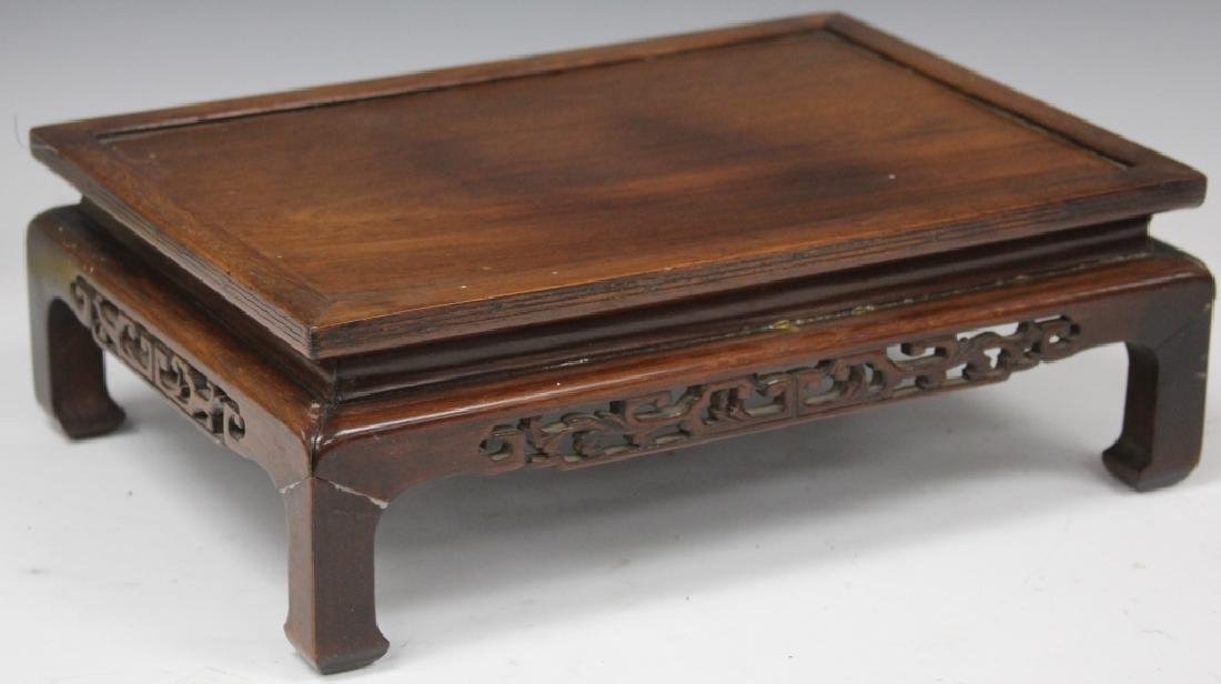 VINTAGE CHINESE ROSEWOOD CARVED STAND - 4