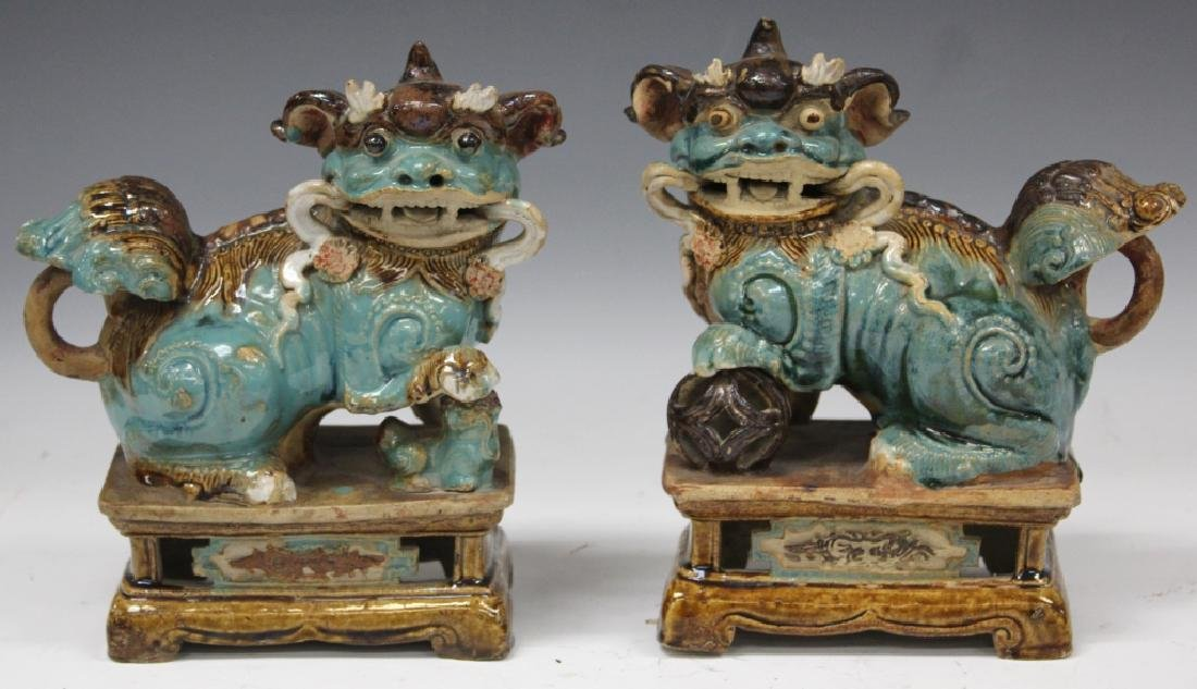 PAIR OF 19TH C. CHINESE FLAMBE POTTERY LIONS