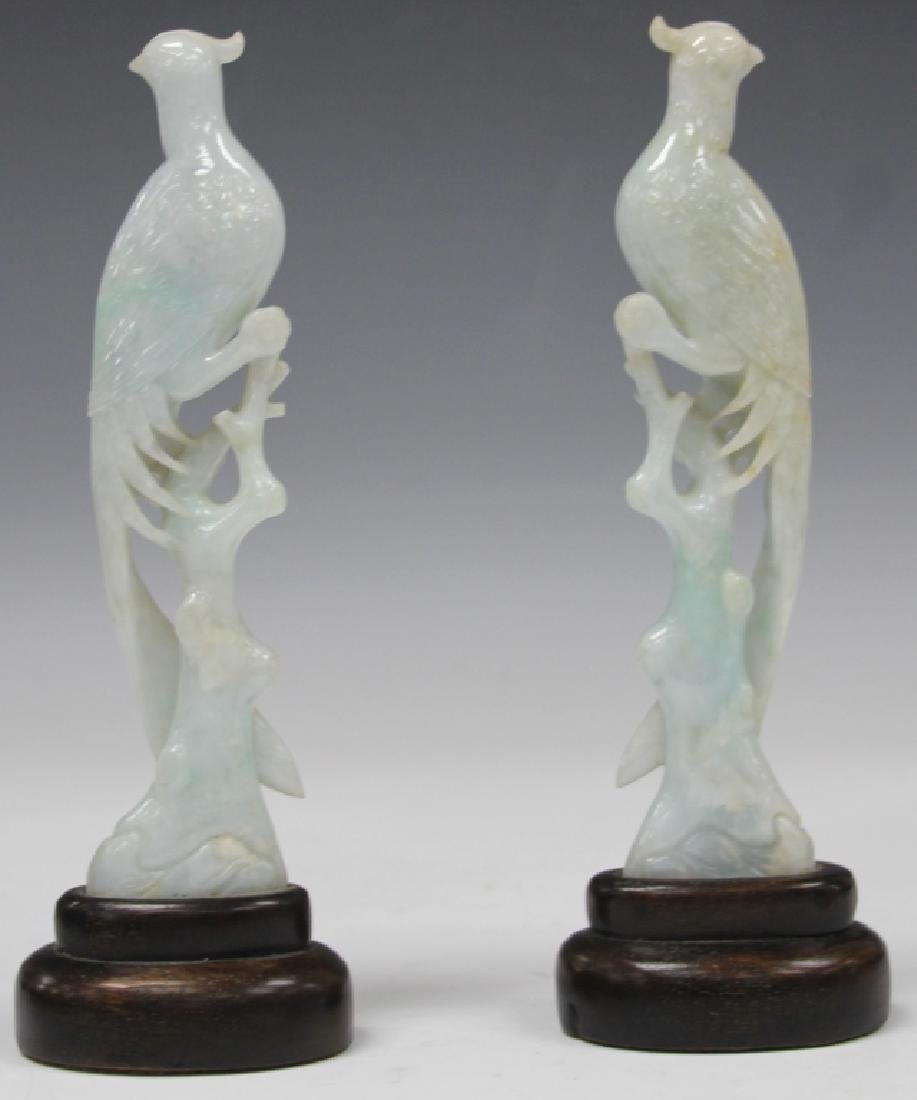 PAIR OF CHINESE CARVED JADE PHOENIX WITH STANDS