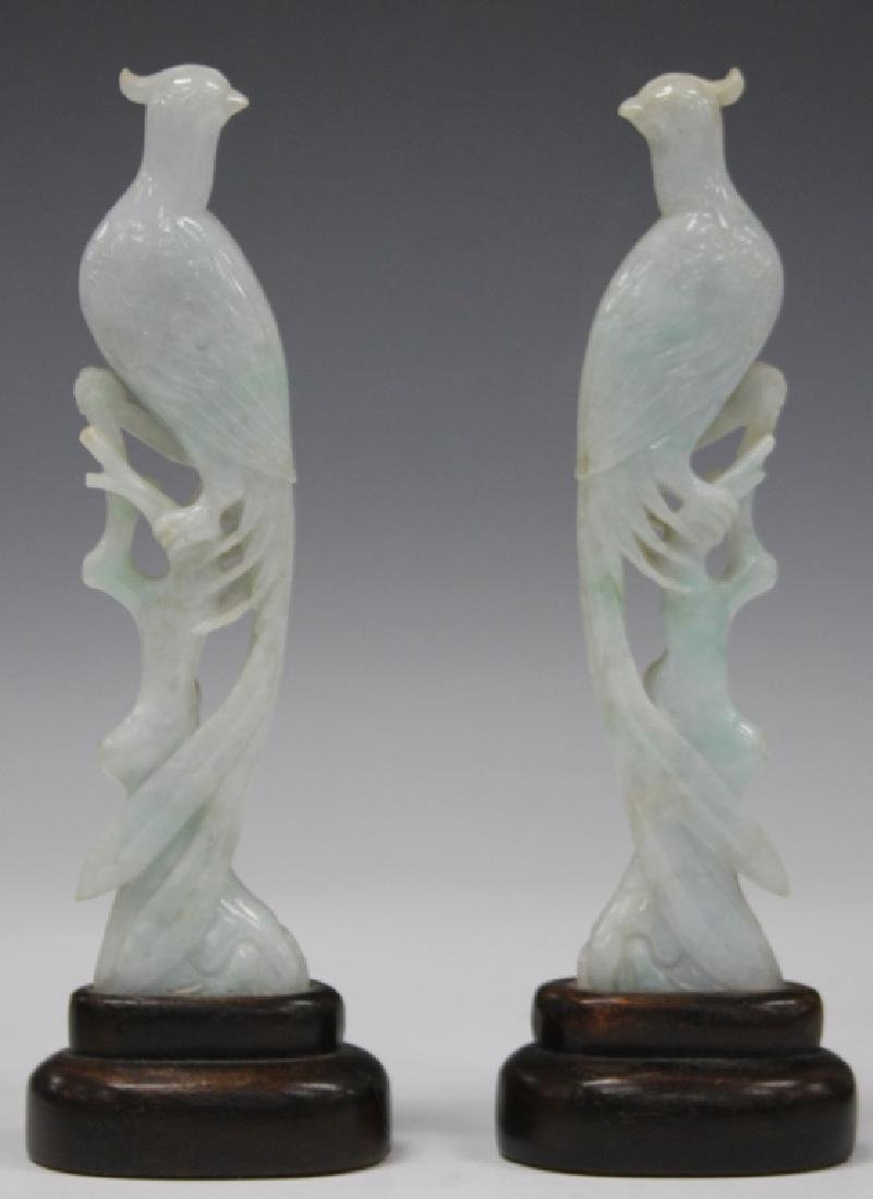 PAIR OF CHINESE CARVED JADE PHOENIX WITH STANDS - 2