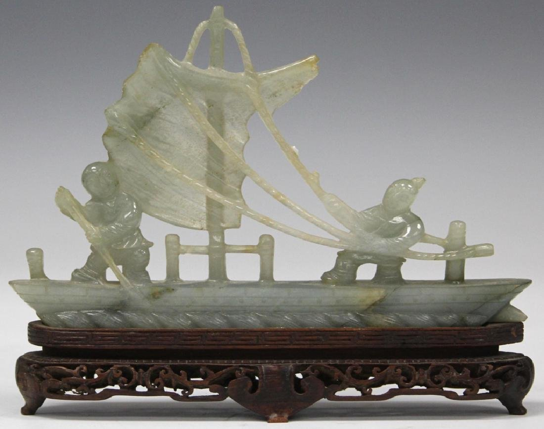 CHINESE CARVED JADE BOAT WITH FIGURES