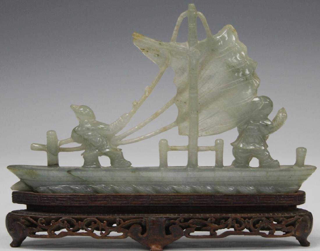 CHINESE CARVED JADE BOAT WITH FIGURES - 2