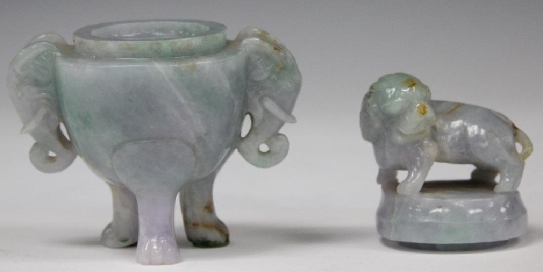 CHINESE CARVED JADE CENSER WITH FOO LION TOP - 3