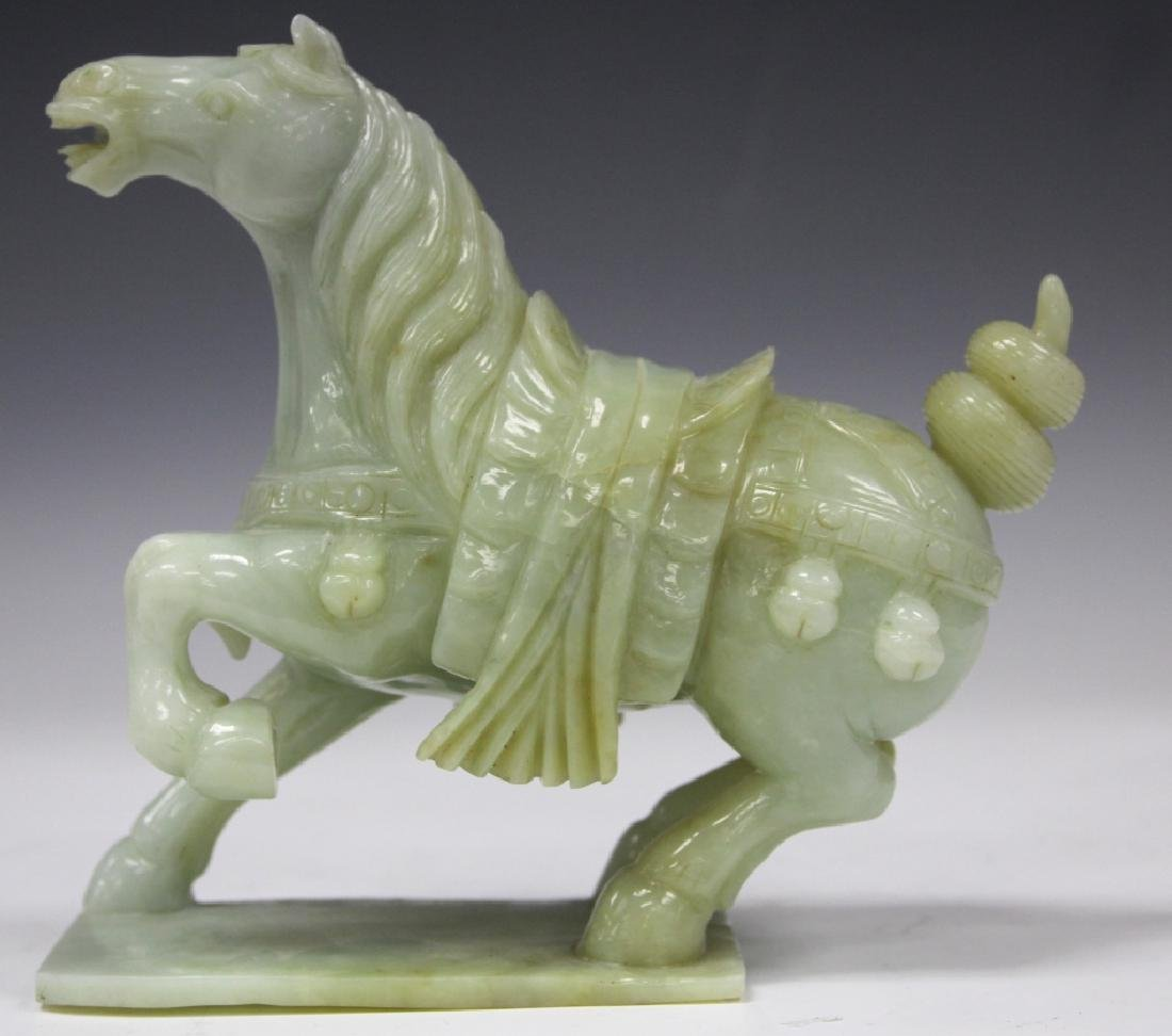 """CHINESE CARVED SERPENTINE FIGURE OF HORSE, 8"""" L"""