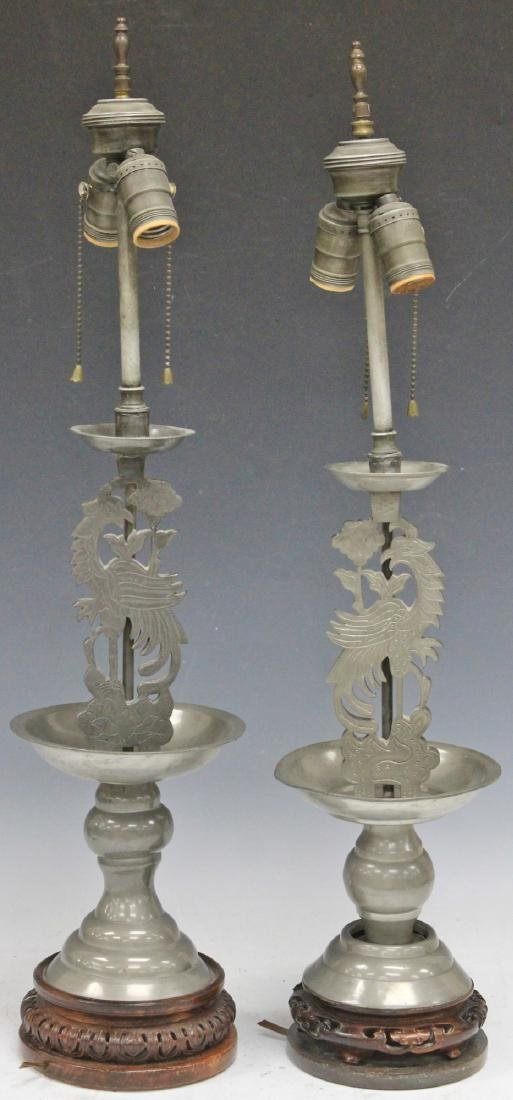 PAIR OF 19TH C. CHINESE PEWTER CANDLE STANDS