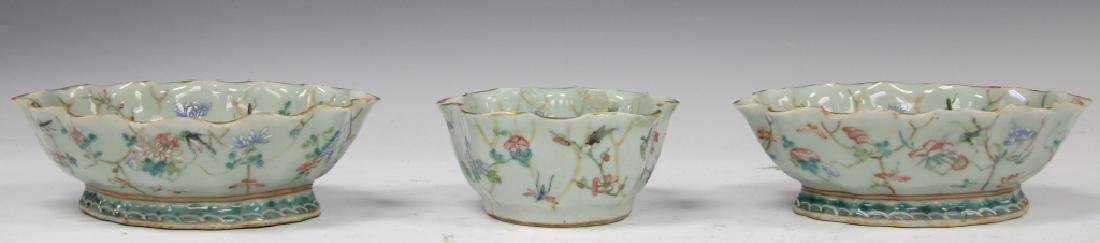 LOT OF (3) CHINESE CELADON POTTERY PAINTED BOWLS