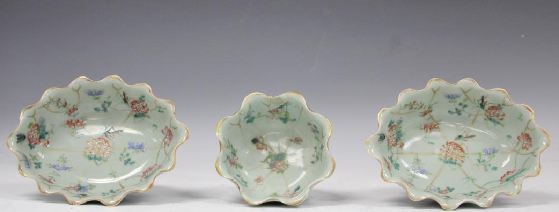 LOT OF (3) CHINESE CELADON POTTERY PAINTED BOWLS - 2