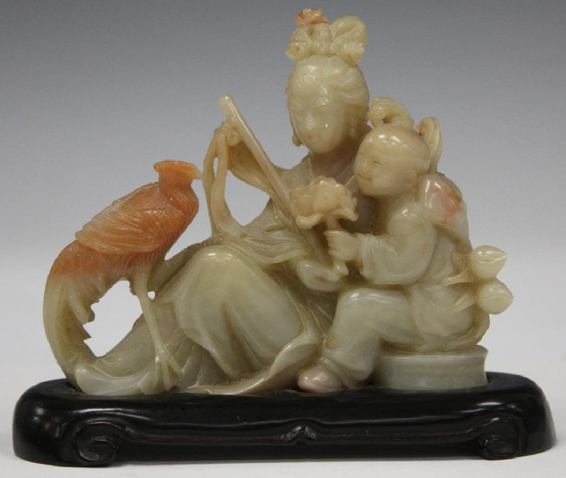 CHINESE CARVED STONE SCULPTURE OF MOTHER & CHILD