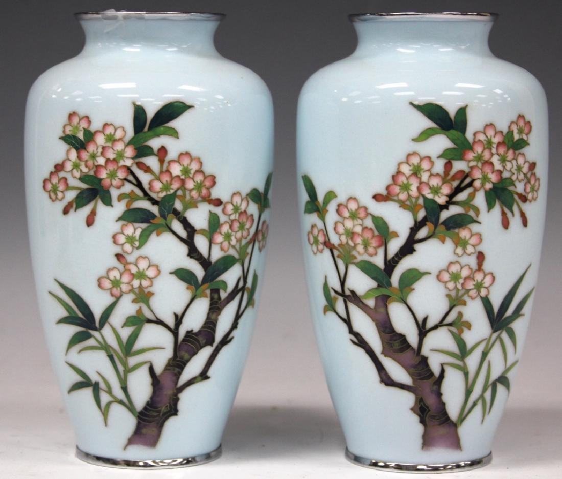 PAIR OF JAPANESE SILVER WIRED CLOISONNE VASES