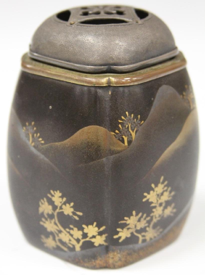 19TH C. JAPANESE LACQUERED CENSER W/ SILVER TOP