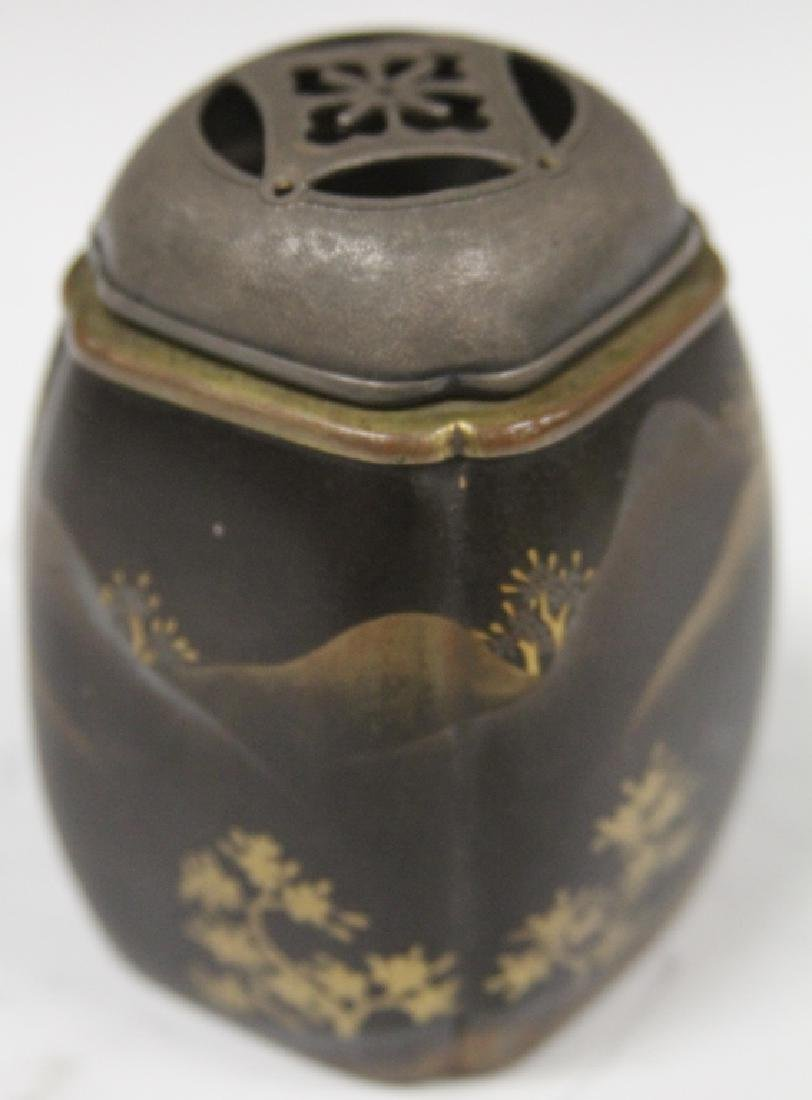 19TH C. JAPANESE LACQUERED CENSER W/ SILVER TOP - 2