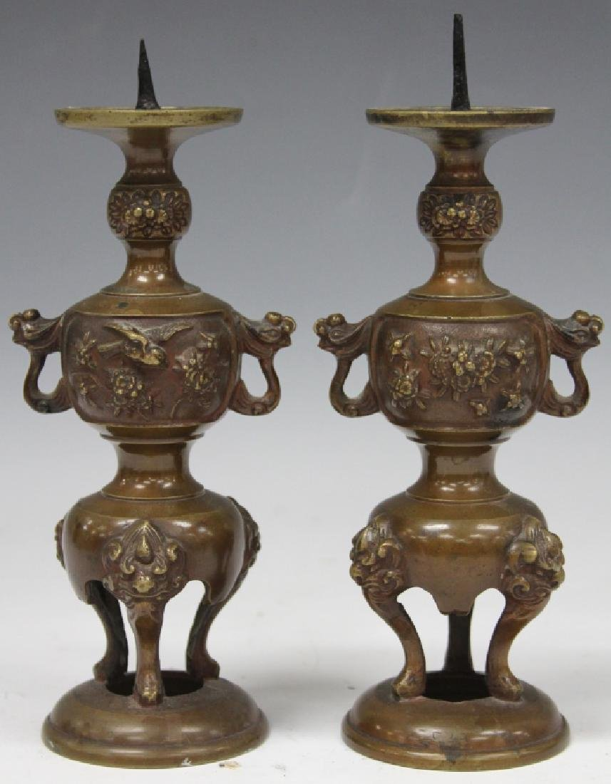 PAIR OF 19TH C. JAPANESE BRONZE CANDLE STANDS