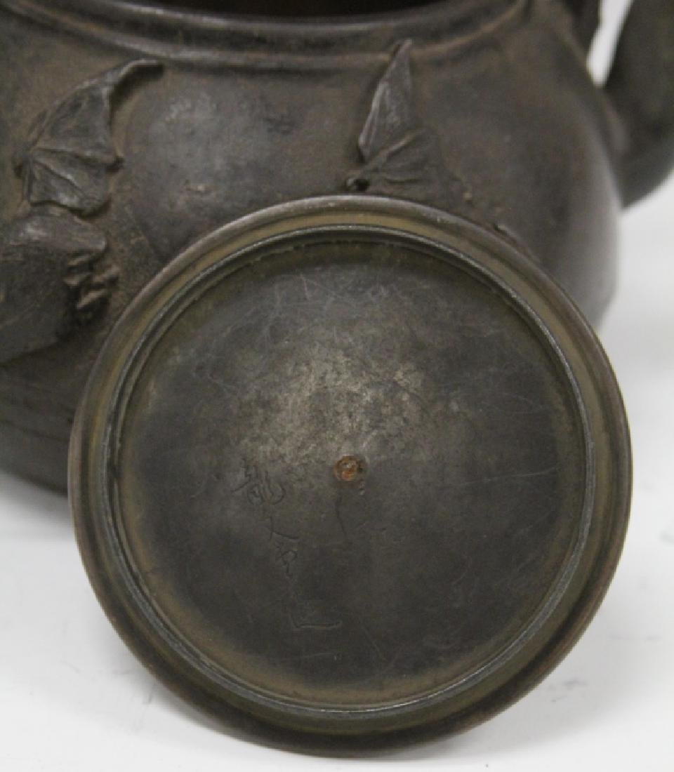 19TH C. JAPANESE IRON AND BRONZE TEA POT, SIGNED - 3