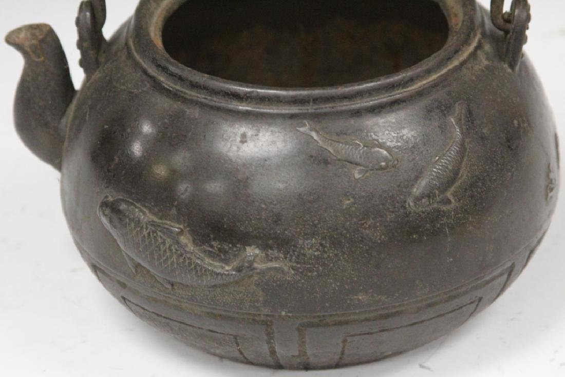 19TH C. JAPANESE IRON AND BRONZE TEA POT, SIGNED - 4