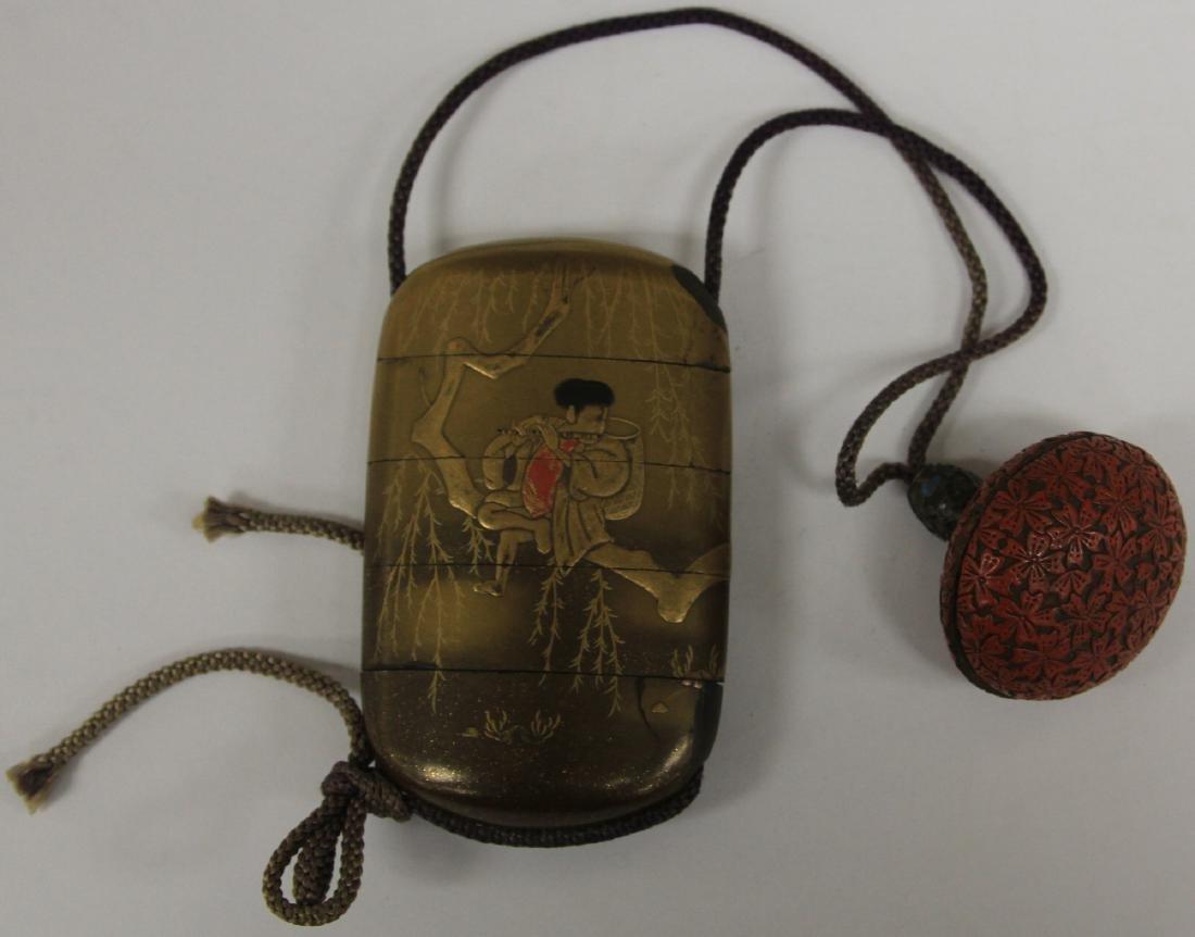 19TH C. JAPANESE INRO LACQUERED BOX W/ CINNABAR