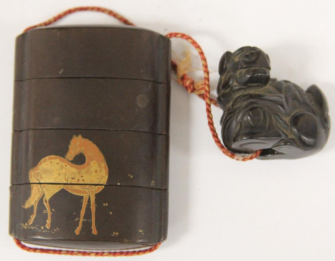 19TH C. JAPANESE INRO LACQUERED BOX W/ NETSUKE