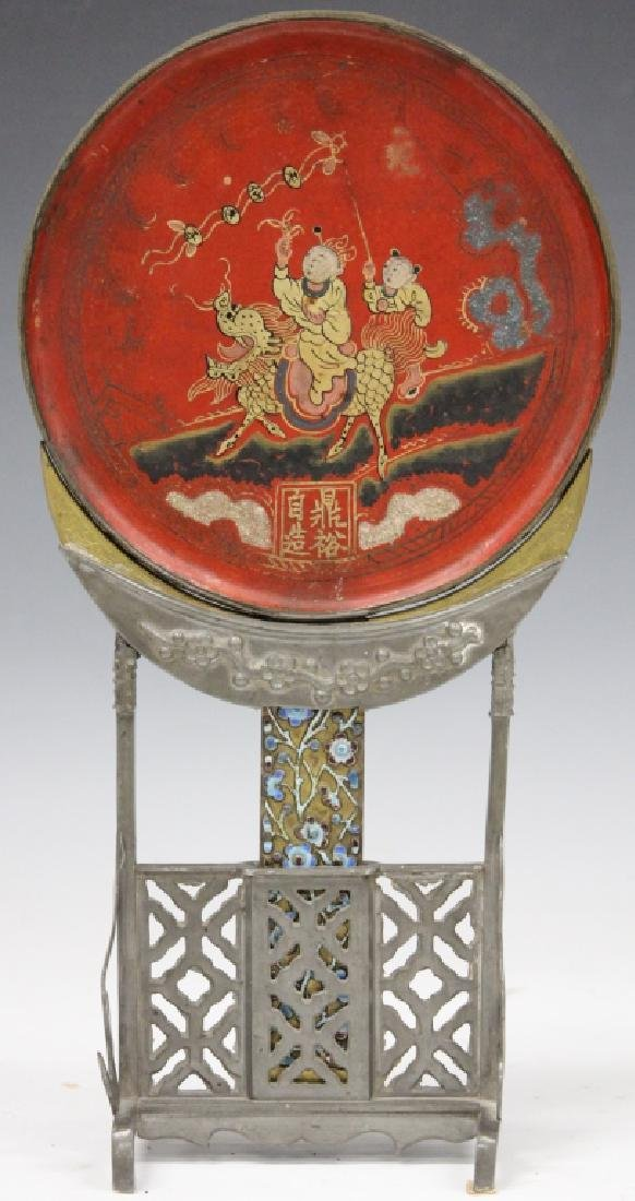 19TH C. CHINESE PEWTER MIRROR WITH STAND