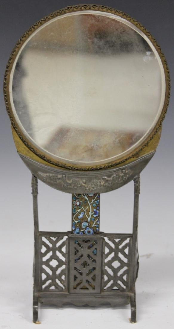 19TH C. CHINESE PEWTER MIRROR WITH STAND - 2