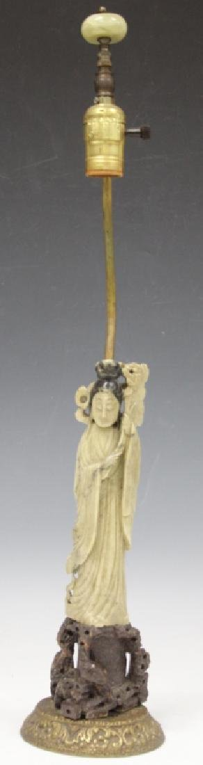 VINTAGE CHINESE CARVED SOAPSTONE QUAN YIN LAMP
