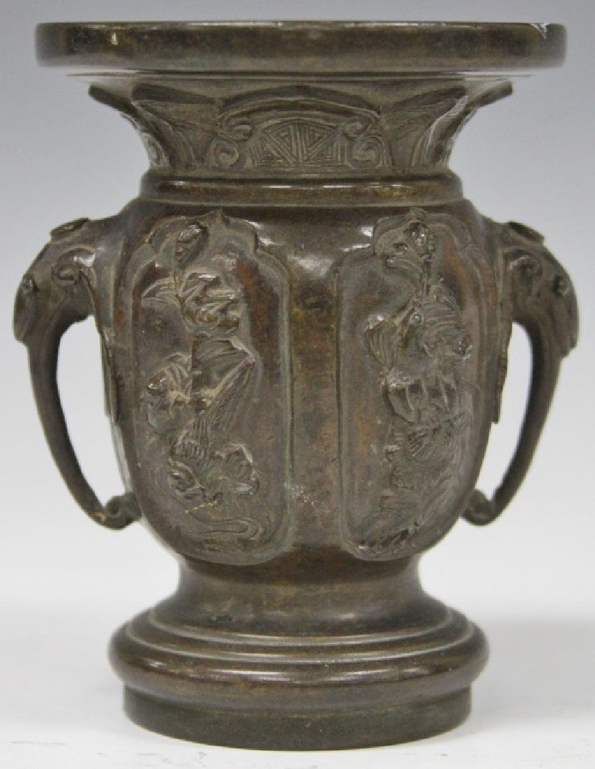 """QING DYNASTY CHINESE BRONZE VASE, 4 1/4"""" H"""