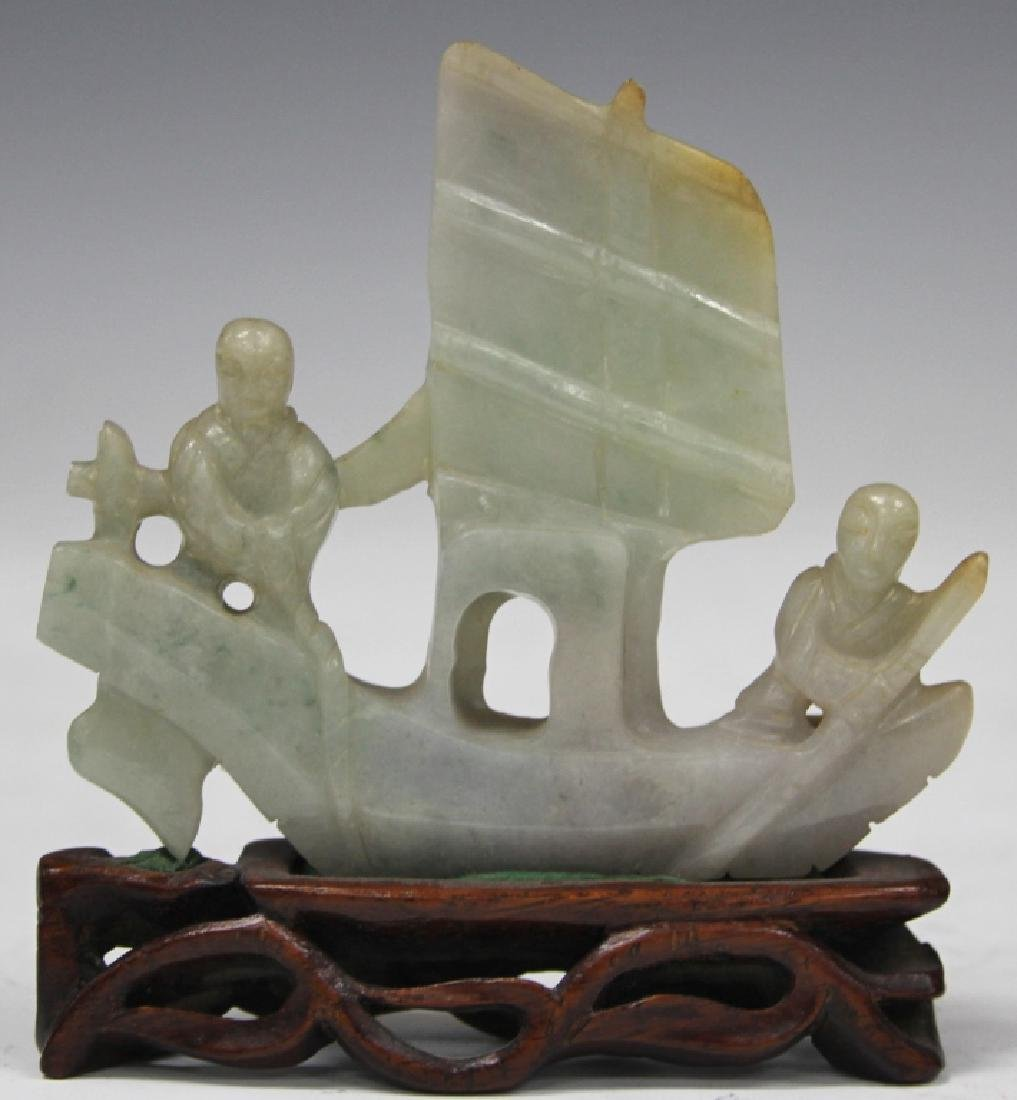 CHINESE VINTAGE CARVED JADE BOAT W/ FIGURES