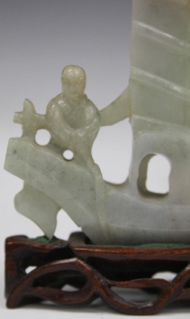 CHINESE VINTAGE CARVED JADE BOAT W/ FIGURES - 3