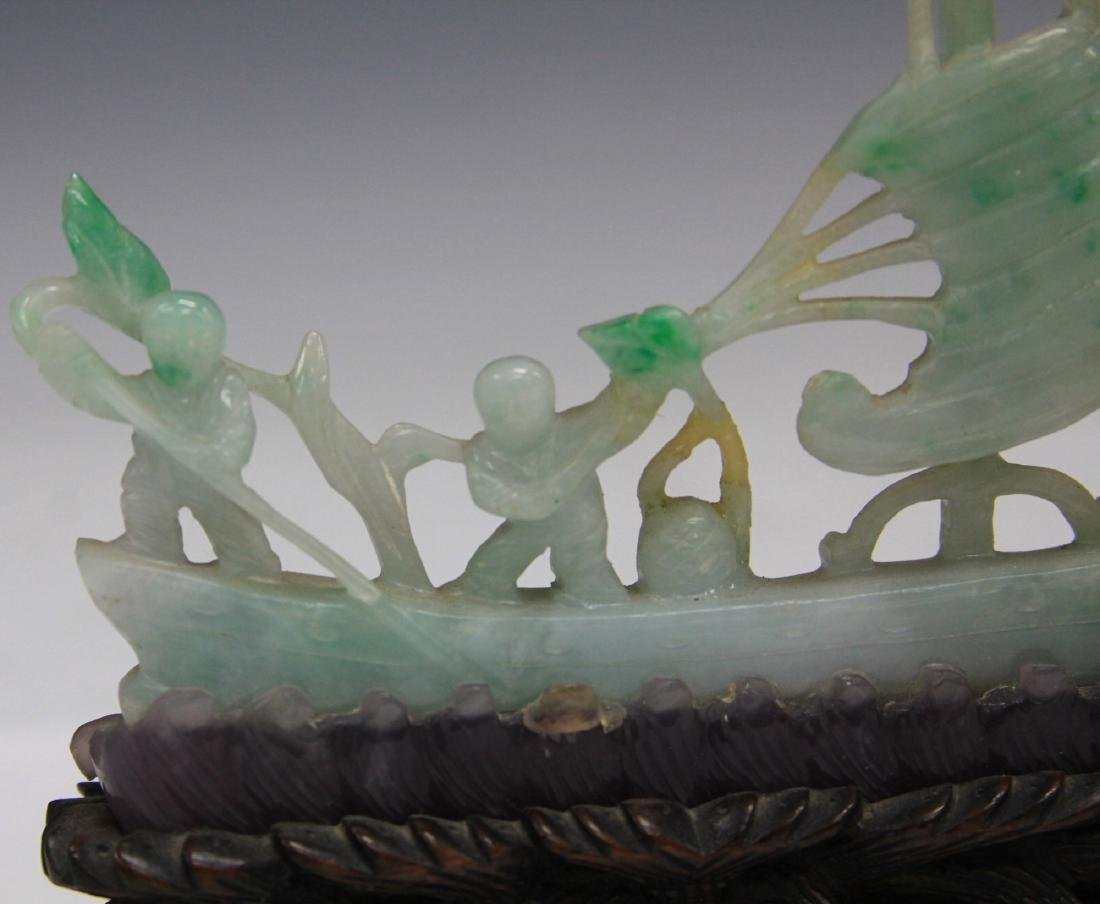 CHINESE CARVED JADE BOAT W/ FIGURES - 3