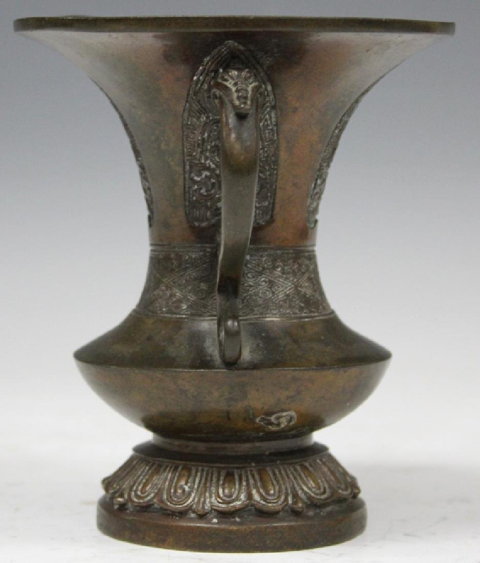 "EARLY CHINESE BRONZE DOUBLE HANDLED VASE, 6"" H - 2"