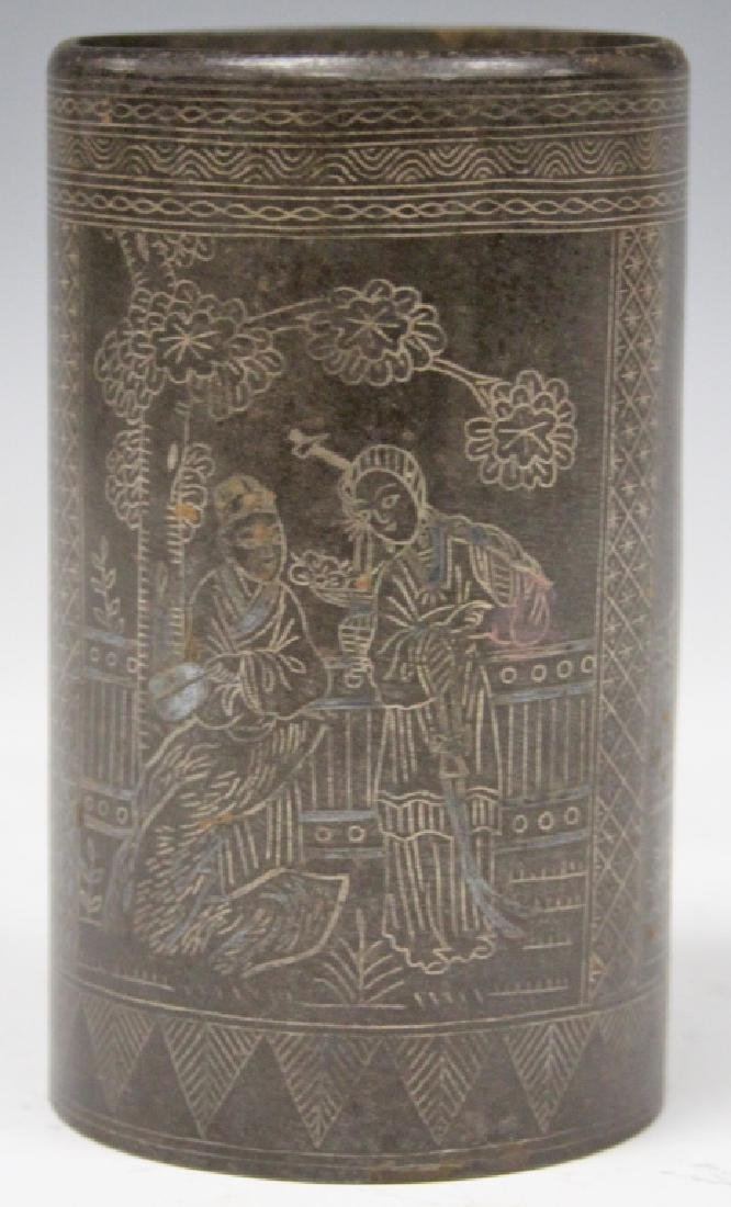 CHINESE CAST METAL SILVER WIRED INLAY BRUSH POT - 2