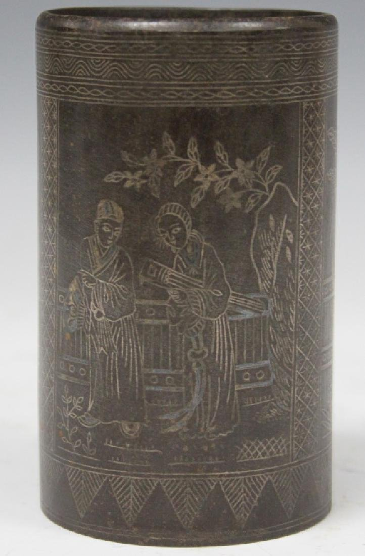 CHINESE CAST METAL SILVER WIRED INLAY BRUSH POT - 3