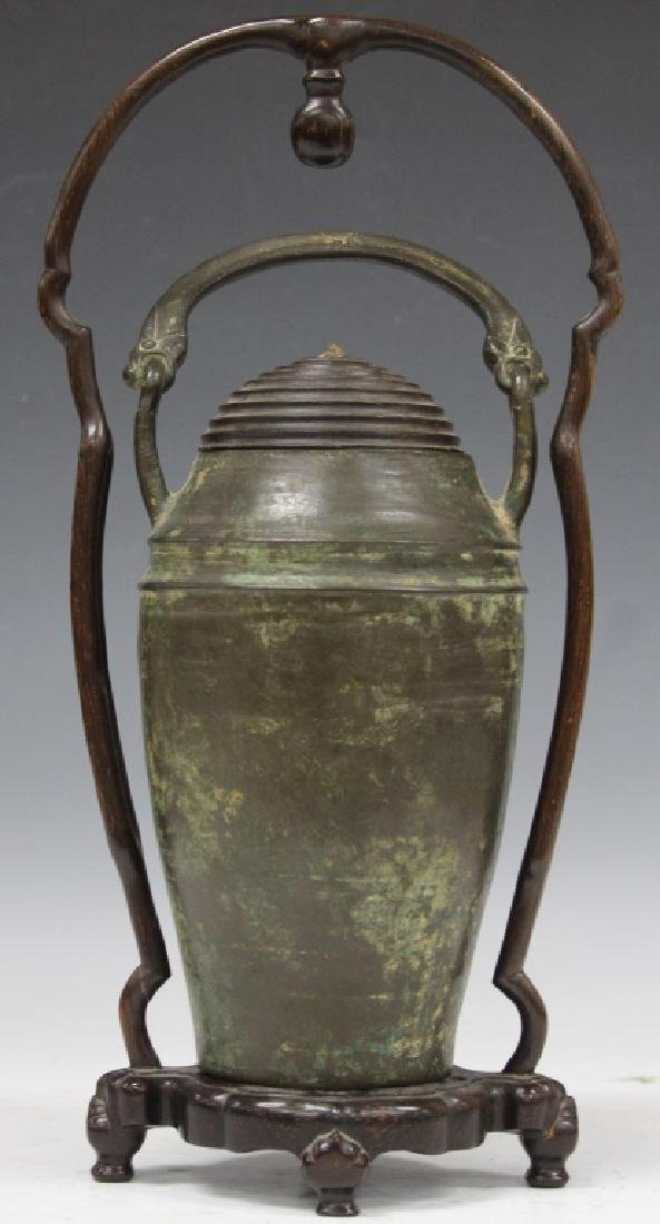 CHINESE CAST BRONZE VESSEL WITH WOOD STAND