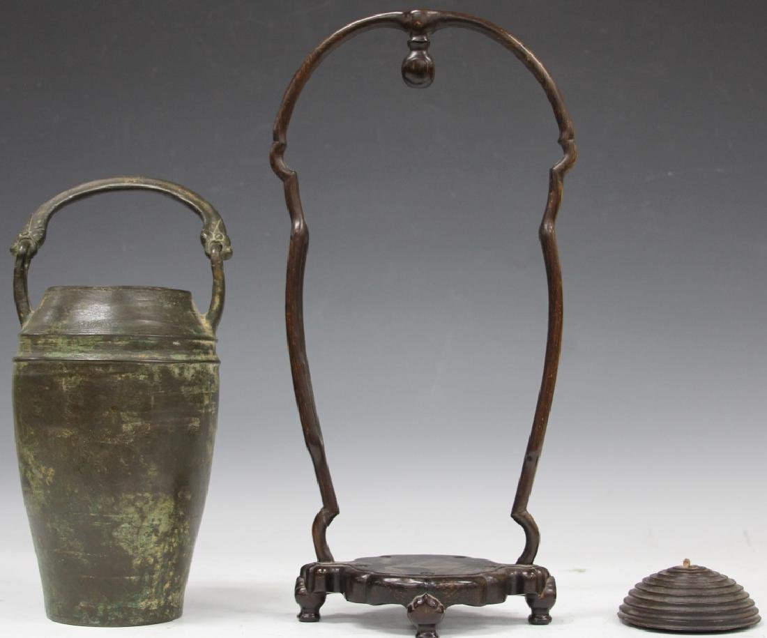 CHINESE CAST BRONZE VESSEL WITH WOOD STAND - 2
