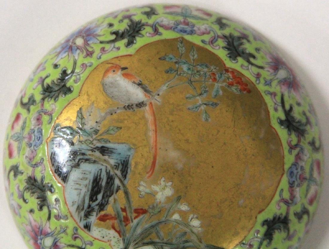 """QING DYNASTY PORCELAIN PAINTED BOX, 3"""" D - 10"""